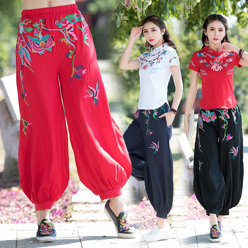 KYQIAO Mexico style ethnic black blue red embroidery   wide     leg     pant   for women autumn vintage plus fours bloomers pantalettes
