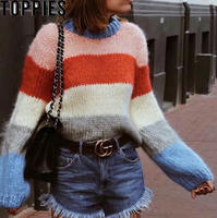 2018 Autumn Winter Long Sleeves Mohair Rainbow Striped Sweater O neck Lantern Sleeves Causal Oversized Knitted Jumper