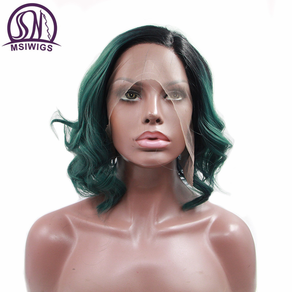 MSIWIGS Short Ombre Green Lace Front Wig Synthetic Hair Brazilian Body Wave Afro Wigs for Women Heat Resistant
