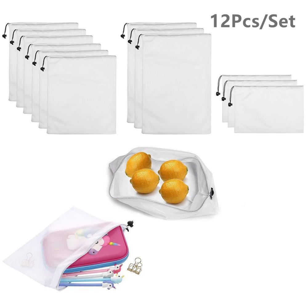 12pcs Reusable Mesh Produce Bag Eco Friendly Washable Fruit Vegetable Produce Mesh Bag With Drawstrings For Shopping & Storage