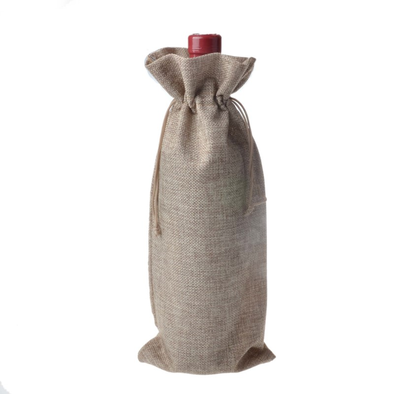 10 pcs Jute Wine Bags Burlap Hessian Wine Bottle Gift Covers Drawstring pouch 15cmx35cm in Drawstring Bags from Luggage Bags