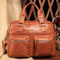 2018 New Genuine Leather Quality Men Messenger Shoulder Vintage Bag Messenger Cowhide Fashion portable Classic simple Shoulder