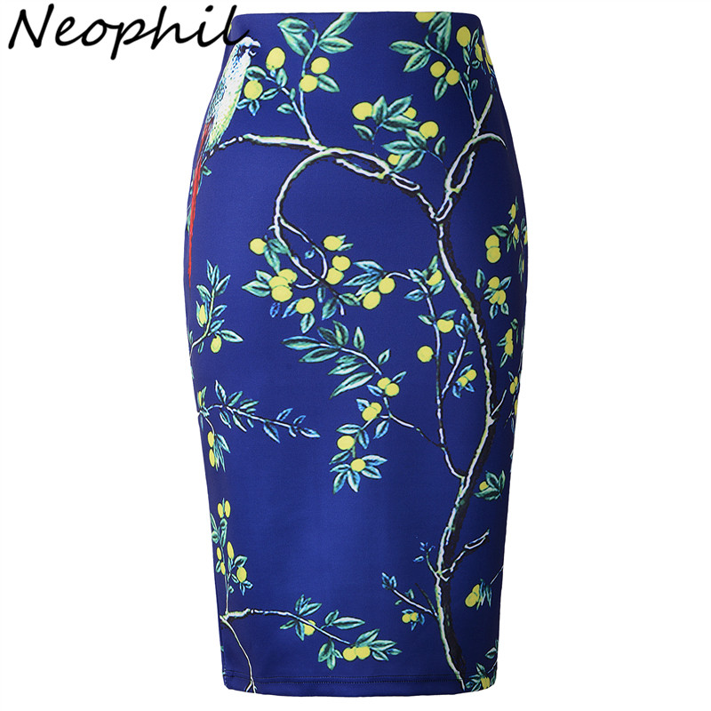 Neophil 2019 Winter Womens Skirts Bird Lemon Tree Pattern Print Pencil Midi High Waist Ladies Office Casual Wear Tube Saia S0634