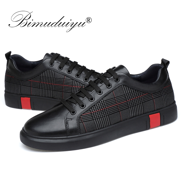 BIMUDUIYU New Men Casual Shoes Genuine Leather Very Comfortable Flats Leather Shoes Non-slip Breathable Fashion Sneakers Size 46