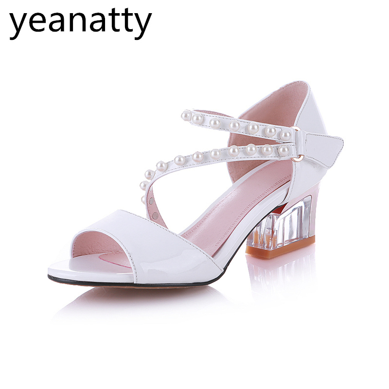 5cm Peep Toe Genuine Leather Sandals Shoes Women med High Heels Real Leather Sandals Beaded Ladies Shoes White Size 43 44 free shipping 100%real picture women shoes wedges high heels platform luxury ethnic diamond genuine leather peep toe sandals