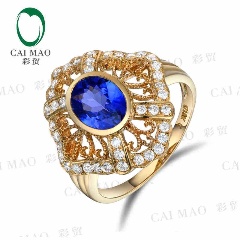 CaiMao 18KT/750 Желтого Золота 1.50 карат Природный ЕСЛИ Синий Танзанит ААА 0.40 карат Полный Cut Бриллиантовое Обручальное Драгоценных Камней кольца Ювелирные Изделия