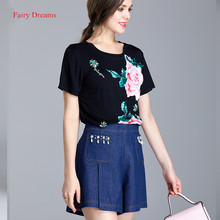 Fairy Dreams 2 Piece Set Women Flowers Beading Black White T Shirt Tops And Denim Shorts Jean Suits 2017 Summer Fashion Clothing