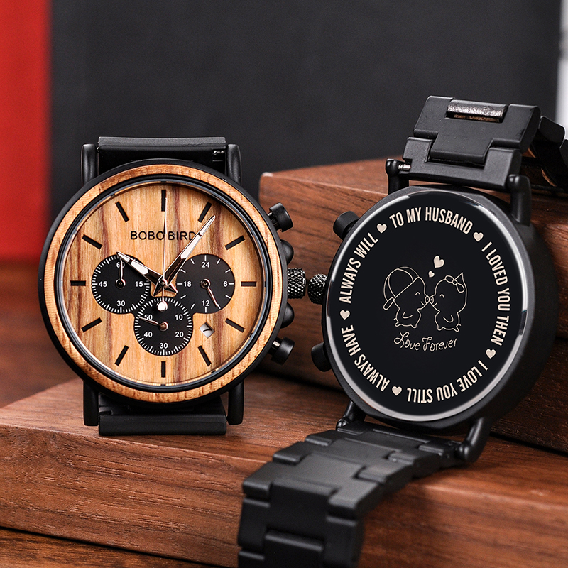 BOBO BIRD Engraved Wood Watch Personalized Customize Men Wristwatches Wood & Stainless Steel Band Father's Gift Anniversary Gift