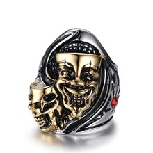 Stainless Steel Rings Punk double skeleton ghost head antique gold for men Accessories