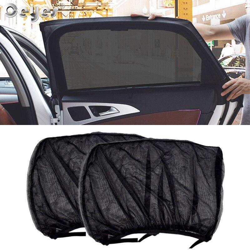 Ceyes cortina para janela lateral automotiva, 2 peças, acessórios para estilo de carro, sombra para o sol, janela lateral, proteção contra o sol filmes