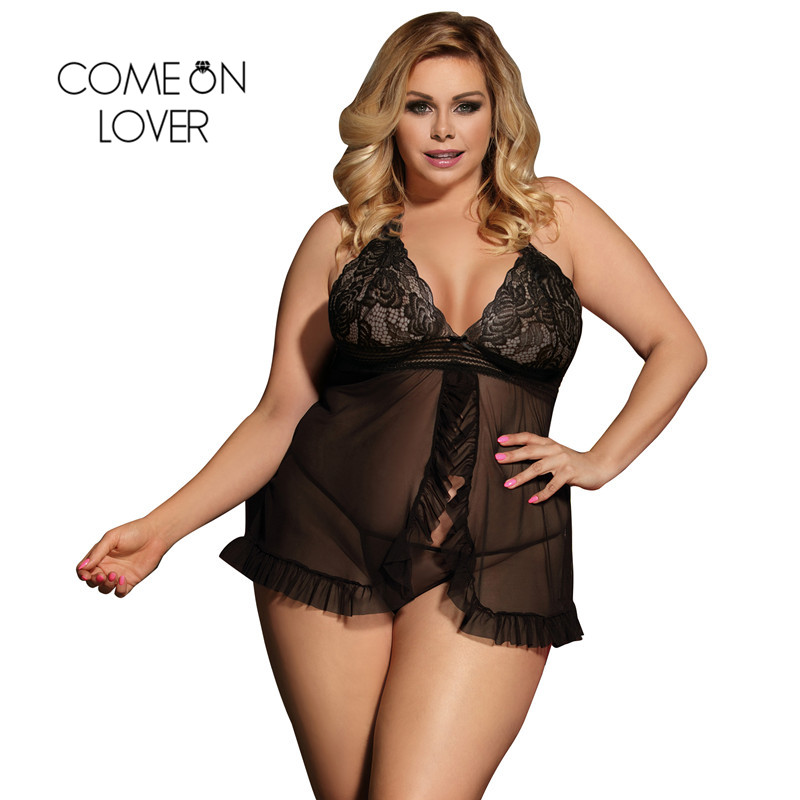 Comeonlover Halter Sheer Mesh Lace Picardias Sexi Mujer Sexy Outfit Porn Costume Exotic Apparel Women Sexy Lingerie RI80526 1