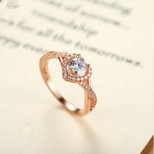 Rose Gold Color Heart Shape Ring for Women with Paved Micro Jewelry Elegant lady luxury ring(China)
