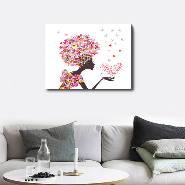 Cartoon Beauty Poster Pattern Flower Love Heart Butterfly Creative Canvas Oil Painting Wall Art Printed For Home Decor No Frame
