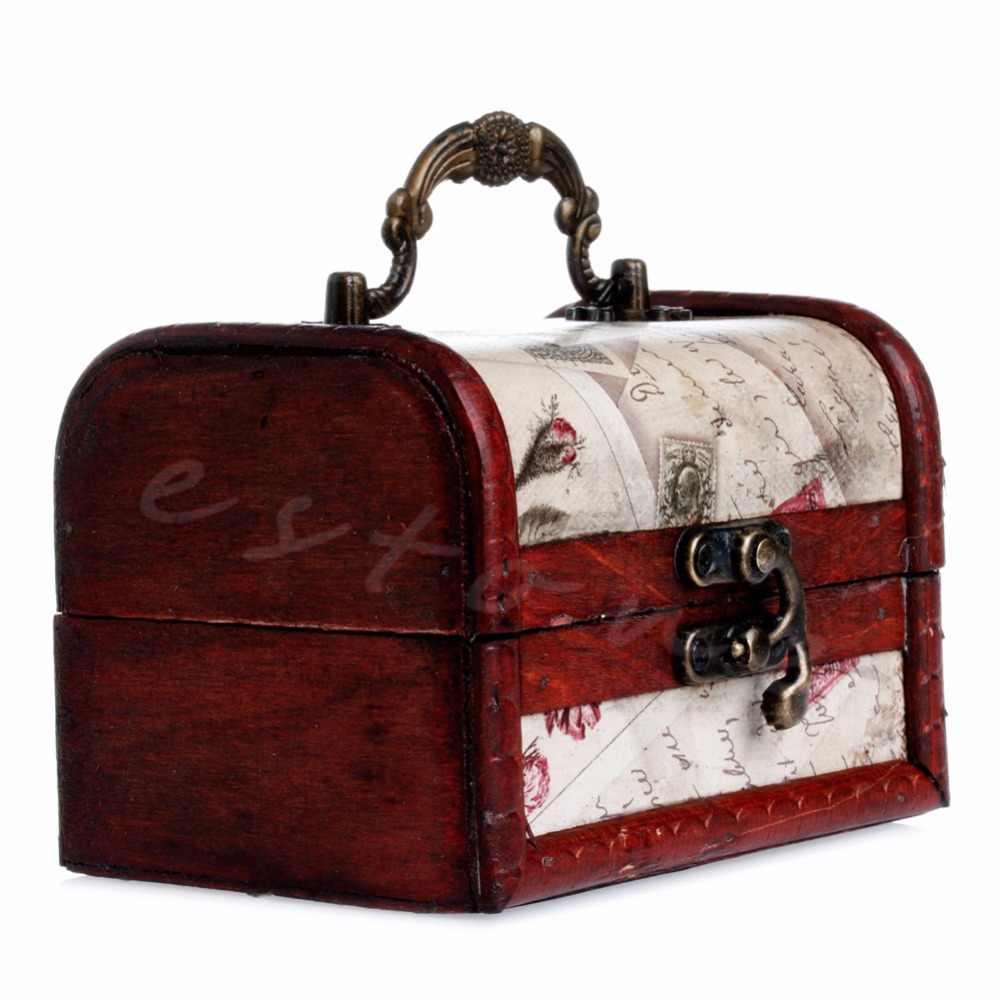 Boîte à bijoux en bois timbre Vintage petite serrure en métal bijoux coffre au trésor boîte en bois décoration de mariage coffrets cadeaux