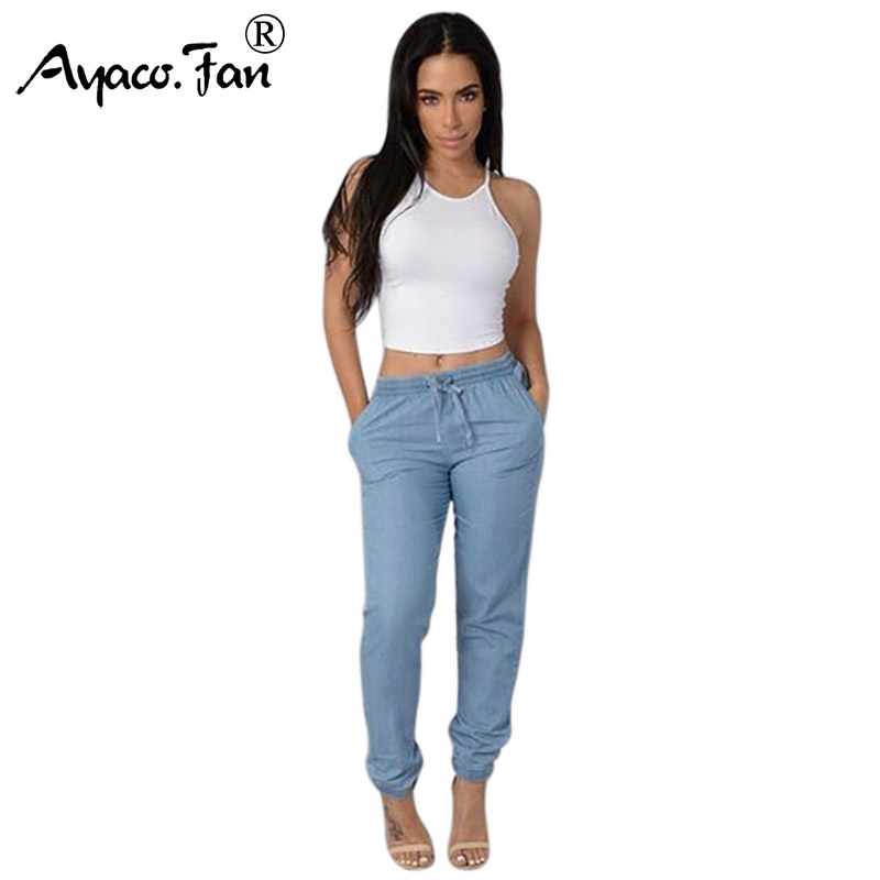 Plus Size Women Solid Drawstring Elastic Waist   Jeans   Harem Pants Ladies Casual Middle Waist Denim Trousers Long Pencil Pants New