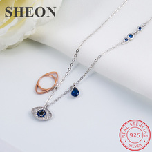 SHEON Collection 925 Sterling Silver Luxury Devils Eye Clear CZ Pendant Necklaces Women Authentic Jewelry
