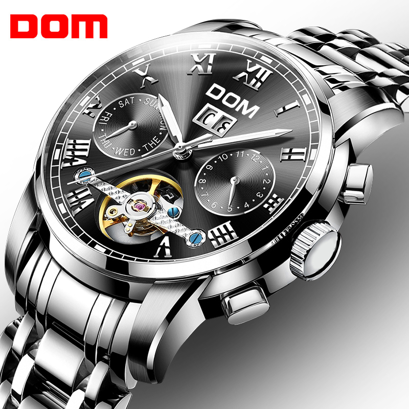DOM Watch Men Business Waterproof Clock Mens Watches Brand Luxury Fashion  Sport Mechanical Wristwatch Relogio Masculino M-75D weide popular brand new fashion digital led watch men waterproof sport watches man white dial stainless steel relogio masculino