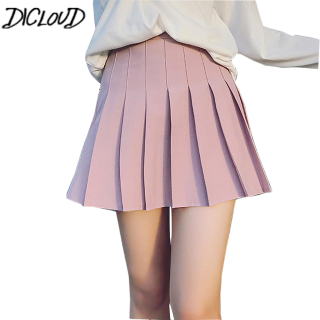 01a8a3489a 2018 New High Waist Ball Summer Pleated Skirts Harajuku Mini Skirts Solid A-Line  Sailor Skirt Plus Size Japanese School Unifor