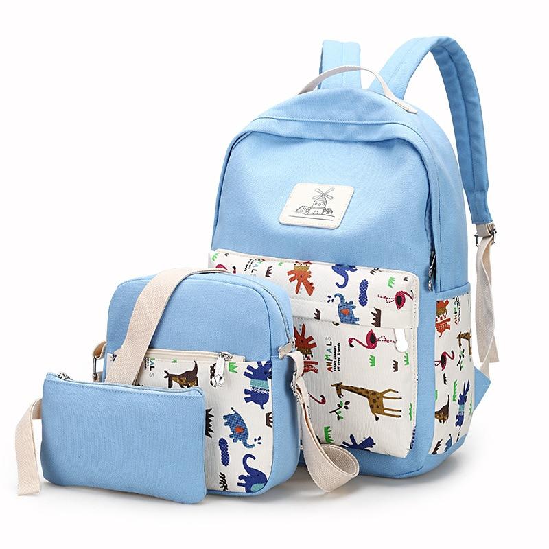 Fashion Design 2017 3set Backpacks Women School Bags for Cute Teenagers Girls Travel Bag Canvas Animal