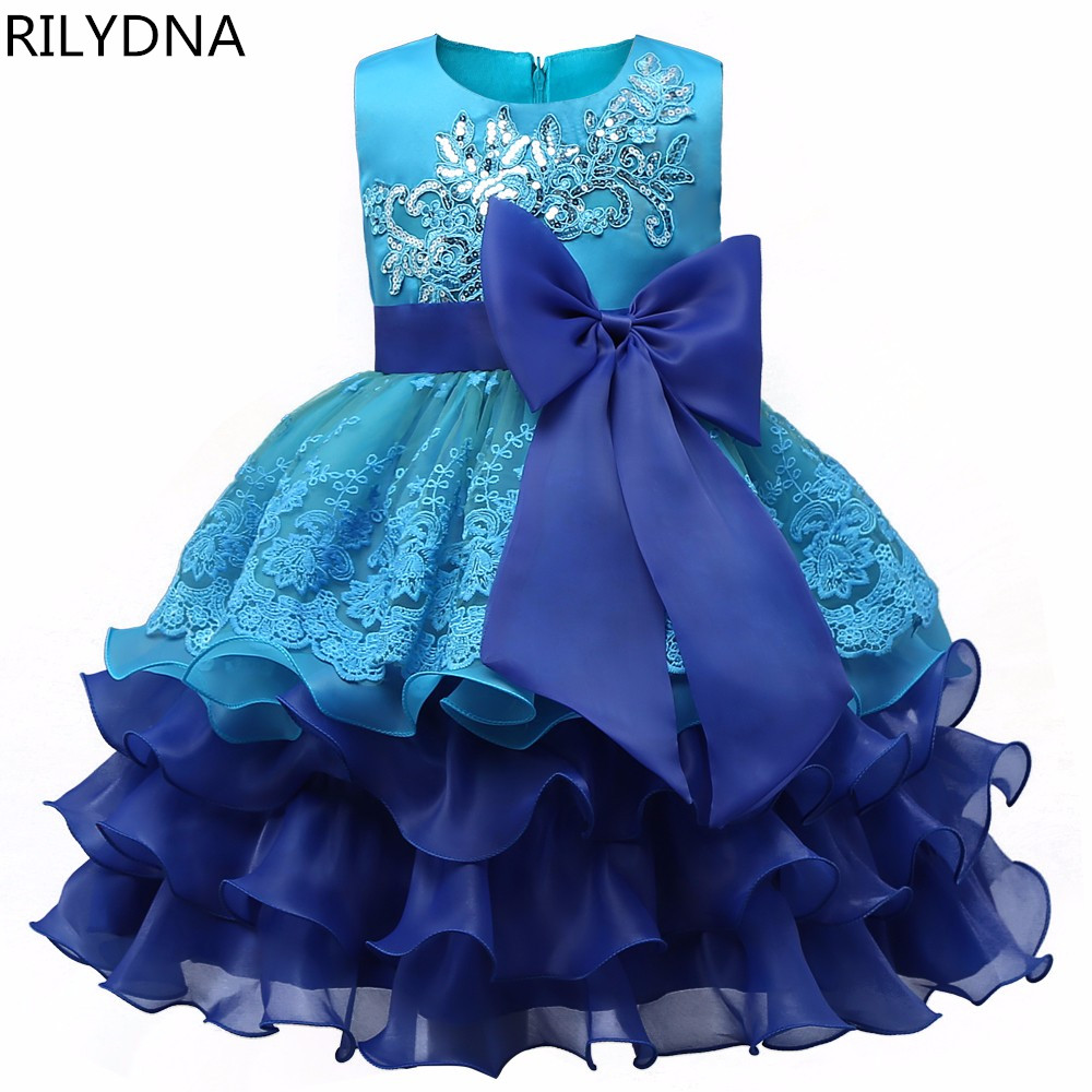 цены Flower Girl Dress Sequin Mesh Party Wedding Princess Tulle Blue 2017 Summer Dresses Children Clothes Size 2-8 Pageant Sundress