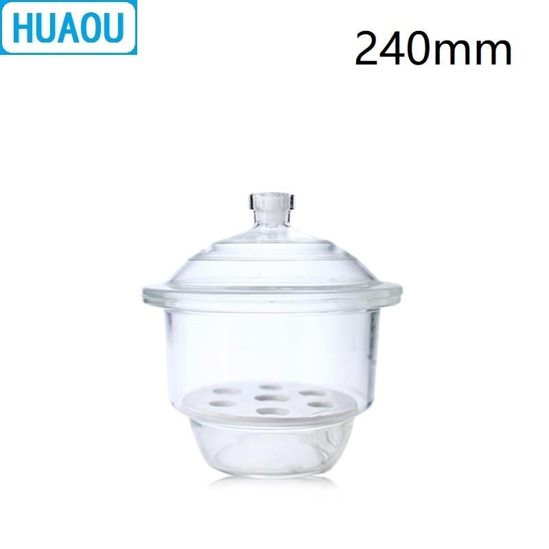 Dessiccateur HUAOU 240mm avec plaque de porcelaine équipement de séchage de laboratoire en verre transparent