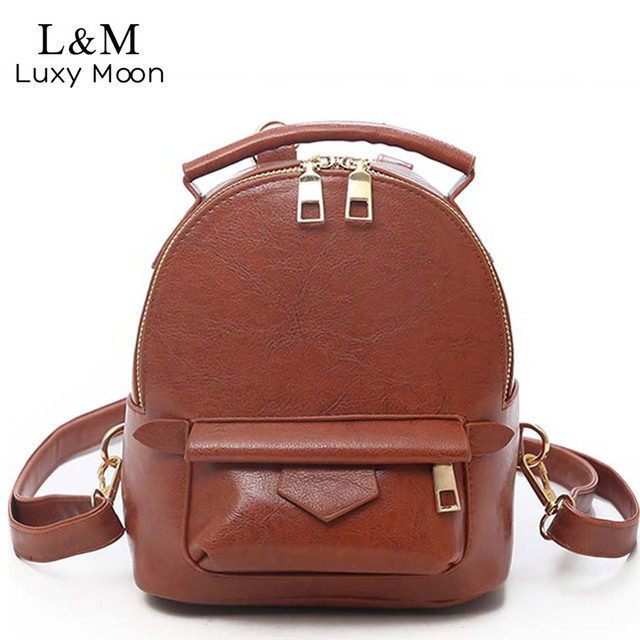 a00811a1db Luxy moon Vintage Women Backpack Mini Rucksack Teenage Girls School Bags  2018 New PU Leather Backpacks Travel Mochilas XA336H