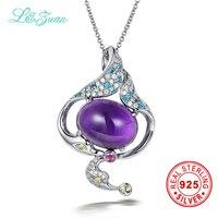 L Zuan 925 Sterling Silver 6 03ct Amethyst Purple Spirit Trendy Pendant Jewelry For Women Gift