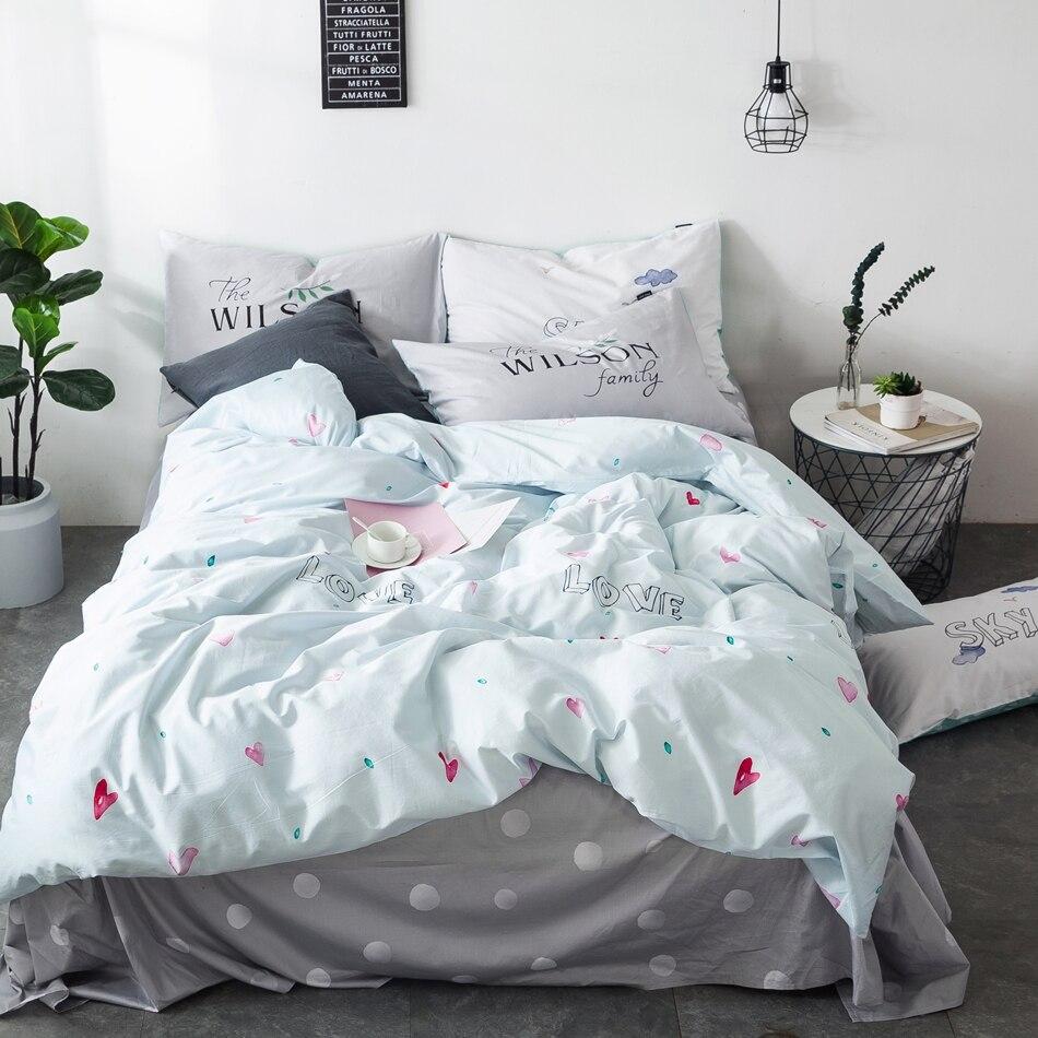 Light Blue Heart Duvet Cover Set 100% Cotton Bedding Sets For Adults Green Bed Sheets Pillow Case Soft Duvet Cover Coverlets