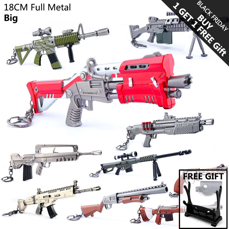 Hot Sale Fortnight Game Accessories Fortnited Battle Royale Toys for Kids Metal Gun Weapon Model Keychain
