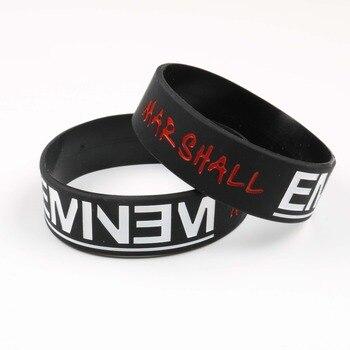 High Quality Eminem Silicone Bracelet Famous America Rap singer Silicone Wristband Free Style 1PCS Black Color for Audlt Fans  Браслет