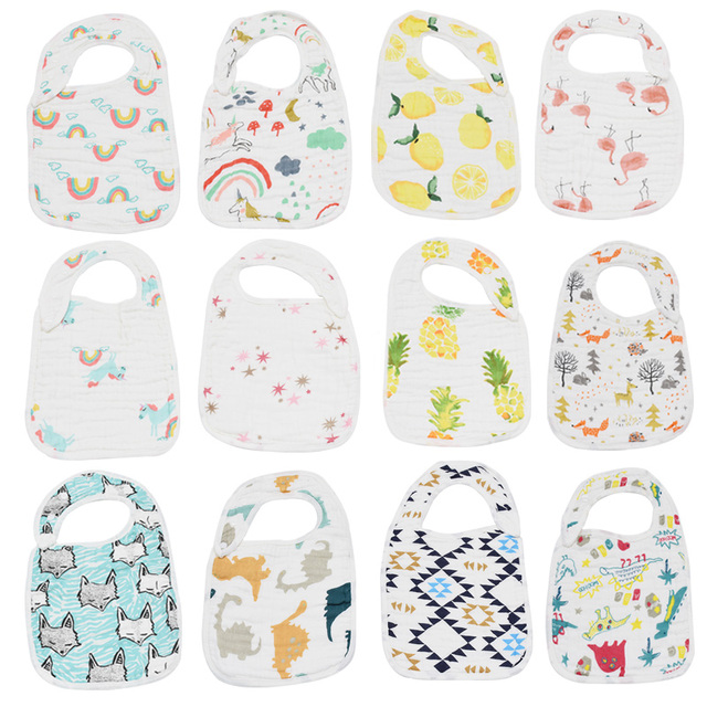100% Cotton Muslin Baby Bibs 8 layers Bandana Baby Girls boys Bibs&Burp Cloths Baby Clothing Product Towel Bandanas burp Cloths