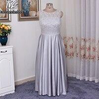 Кружево и атласная без рукавов плюс Размеры платье подружки невесты с карманом атласная юбка торжественное платье wbm1118 серебро Платья для в