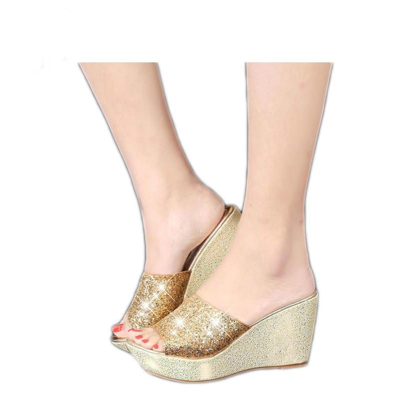 Platform Sandals Woman 2017 Wedges Bling Basic Summer Slippers Gold Silver Black Fashion Flip Flop 35-39 phyanic 2017 gladiator sandals gold silver shoes woman summer platform wedges glitters creepers casual women shoes phy3323