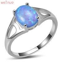 Weinuo Blue Fire Opal Pierścień 925 Sterling Silver Najwyższa Jakość Fantazyjne biżuteria Ślubna Pierścionek Rozmiar 5 6 7 8 9 10 11 A429