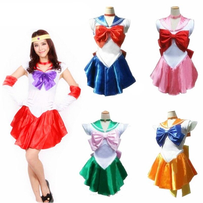 Anime Pretty Soldier Sailor Moon/ Venus/Jupiter/Mercury/Mars/Saturn/Uranus/Neptune/Pluto Female Adults Halloween Cosplay Costume