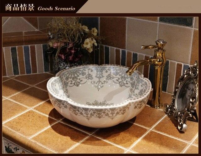 Chinese Handmade Flower Shape Modern Artistic White Vessel Sink Ceramic  Bathroom Sink Ceramic Sink For Bathroom