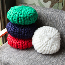 Handmade Soft Round Floor Seat Cushion Large 30cm Knitted POUF Knotted Pillow Decorative Sofa Wool Bean Chair Cushi