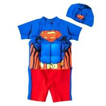 Детский купальный костюм, цельный принт Супермена купальный костюм-поплавок, спасательные куртки для мальчиков, широкий съемный плавучий купальный костюм