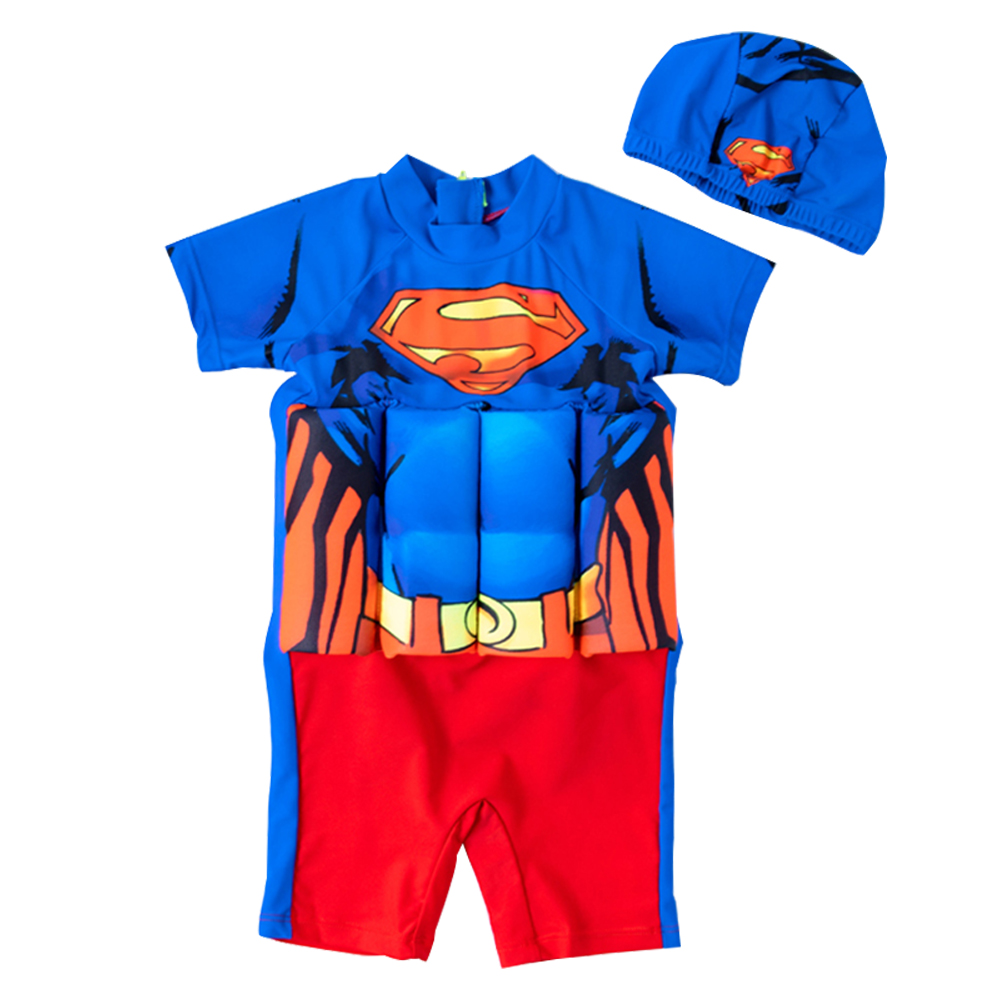 Children Swimwear One-Piece Superman Print Float Swimsuit Kids Boys Life Jackets Vast Detachable Floating Buoyancy Swimming Suit
