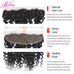 Image 3 - MS Love Deep Wave ด้านหน้าลูกไม้ 13x4 ปิดผมมนุษย์บราซิล Remy Hair Extension
