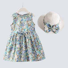 купить Cute Children Summer Girls Round Collar Cute Cartoon Floral Print Sleeveless Sweet Princess Dress+Hat 1-7Y Toddler Girl Clothes онлайн