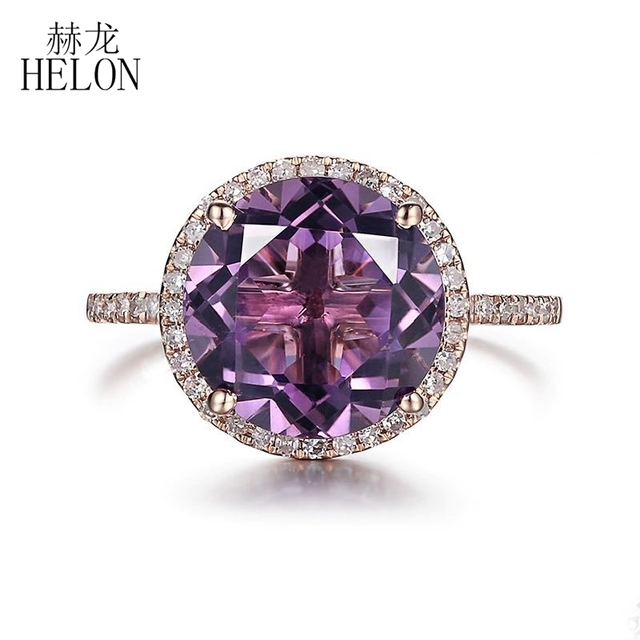 HELON 95mm Round 389ct Amethyst Engagement Ring Solid 14K Rose