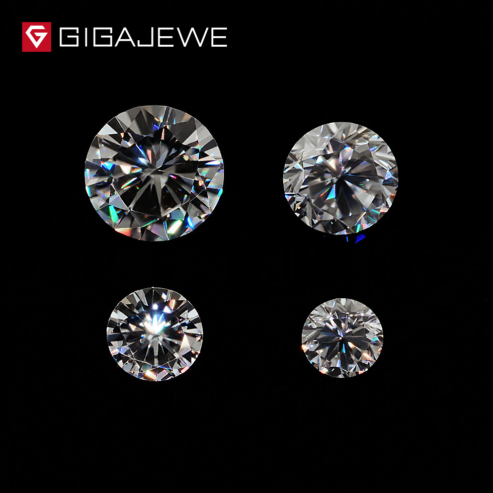 GIGAJEWE 0.8ct 3.5mm-6mm GH Couleur Round Cut Moissanite Pierre DIY Gem Charmes DIY Perles Pour Bijoux faire De Mode Petite Amie Cadeau