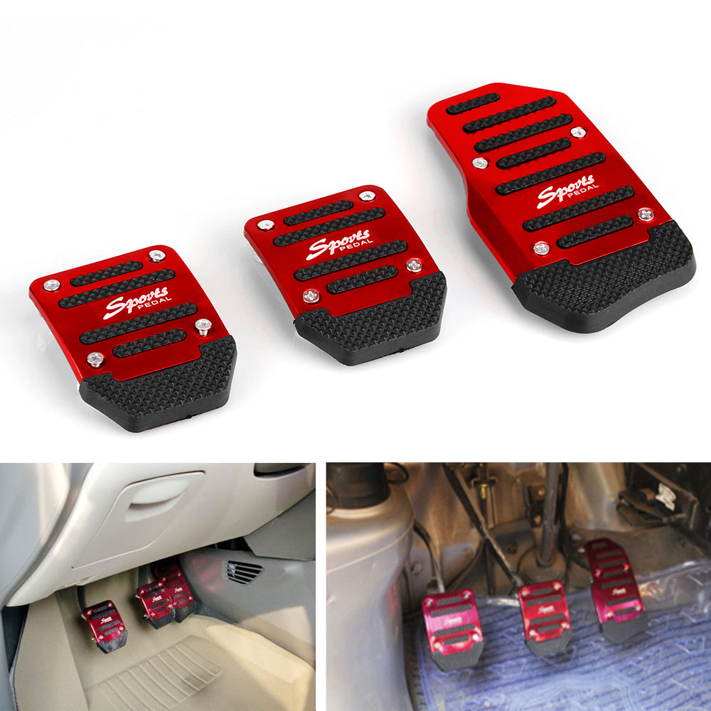 Image 5 - RASTP   3Pcs Aluminum Car Manual Series Automatic Brake Accelerator Non slip Foot Rest Pedal Pad Cover Car Accessories RS ENL018-in Pedals from Automobiles & Motorcycles