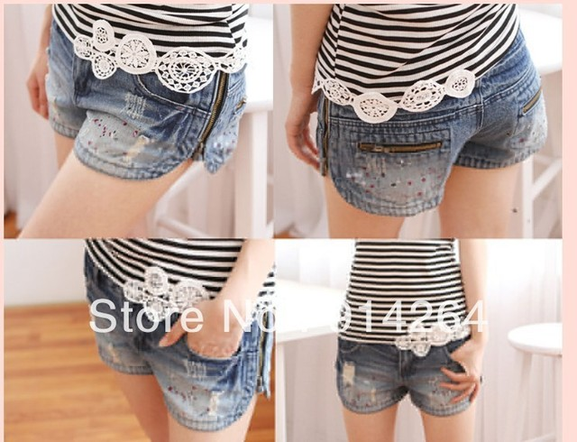Hot Womens Ladies Trends Sides Zipper Hole Washing Denim Shorts Jeans Hot Pants     free shipping