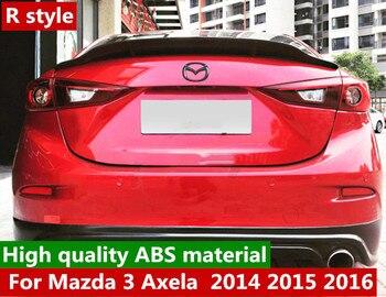 Matériau ABS de haute qualité aileron d'aile de coffre arrière voiture d'aile de style R pour Mazda 3 Axela berline 2014 2015 2016 apprêt et couleur noire