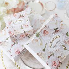 30pcs/lot White Rose Paper Gift Packaging Box Wedding Engagement Candy Boxes Home Party Birthday 8*8*4cm
