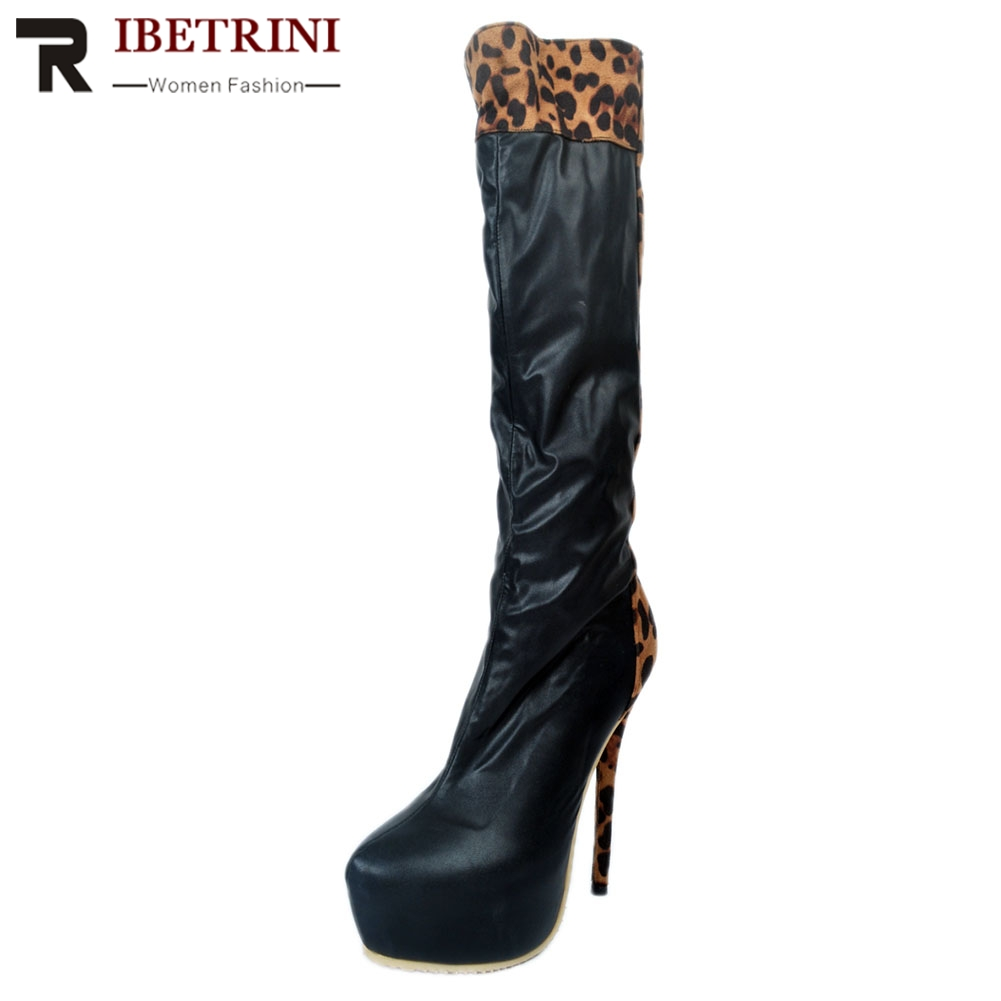 RIBETRINI Women Shoes Big Size 35-47 Thin High Heels Sexy Fashion Leopard Party Boots Shoes WomanRIBETRINI Women Shoes Big Size 35-47 Thin High Heels Sexy Fashion Leopard Party Boots Shoes Woman