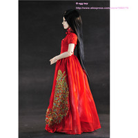 Chinese Red Wedding Dress For 1 3 BJD Doll Ancient Costume Dress With Golden Peacock Pattern