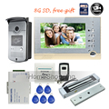 "FREE SHIPPING BRAND 7"" Home Color Recording Screen Video Door phone Intercom + RFID Card Reader Door Camera + EM Lock WHOLESALE"